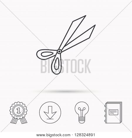 Gardening scissors icon. Secateurs tool sign symbol. Download arrow, lamp, learn book and award medal icons.