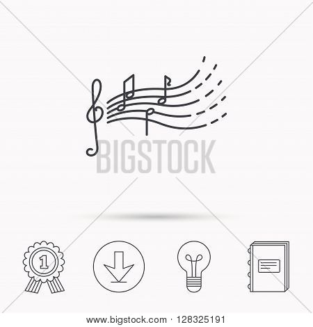 Songs for kids icon. Musical notes, melody sign. G-clef symbol. Download arrow, lamp, learn book and award medal icons.