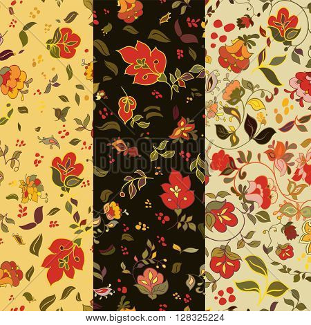 Set of floral seamless patterns. Folk boho style background with flowers. Vector illustration.