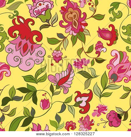 Decorative creative floral boho seamless pattern with flowers. Vector illustration.