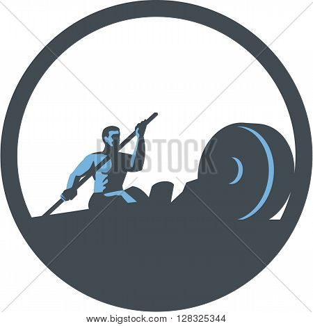 Illustration of a rower rowing paddling on rowing machine viewed from the side set inside circle done in retro style.