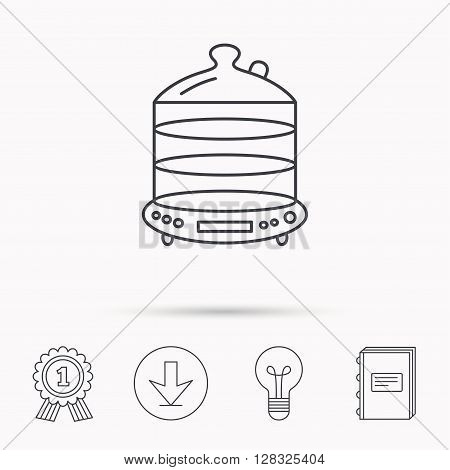 Steamer icon. Kitchen electric tool sign. Download arrow, lamp, learn book and award medal icons.