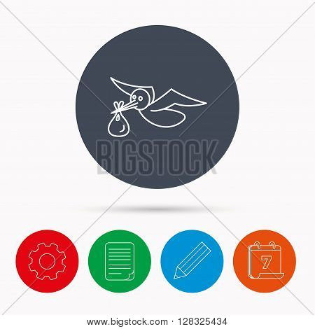 Stork with sack icon. Newborn baby symbol. Calendar, cogwheel, document file and pencil icons.