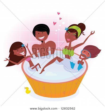 Família de pele escura, com dois filhos na banheira