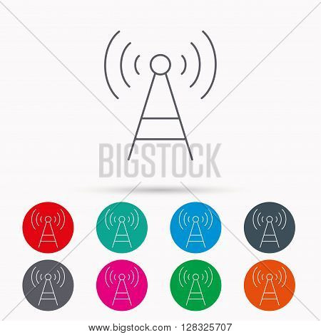 Telecommunication tower icon. Signal sign. Wireless wifi network symbol. Linear icons in circles on white background.