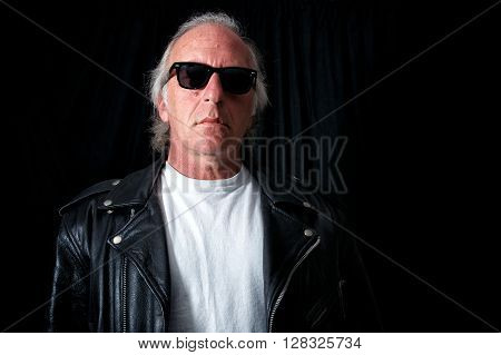 Older Grey Haired Biker