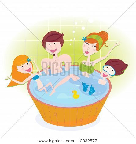 Happy family with two children in whirlpool bath