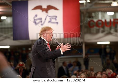 Des Moines, Iowa-December 2015:  Donald Trump speaks at a political rally leading up to the 2015 presidential election