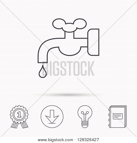 Water supply icon. Crane or Faucet with drop sign. Download arrow, lamp, learn book and award medal icons.
