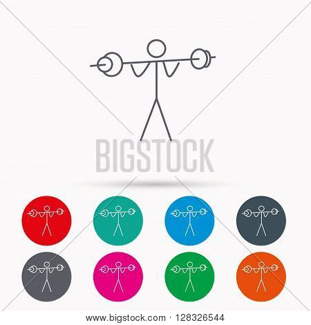 Weightlifting icon. Heavy fitness sign. Muscular workout symbol. Linear icons in circles on white background.