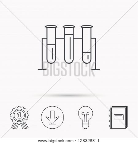 Laboratory bulbs icon. Chemistry analysis sign. Science or pharmaceutical symbol. Download arrow, lamp, learn book and award medal icons.