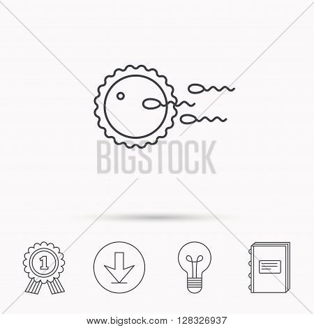 Family planning icon. Fertilization sign. Download arrow, lamp, learn book and award medal icons.