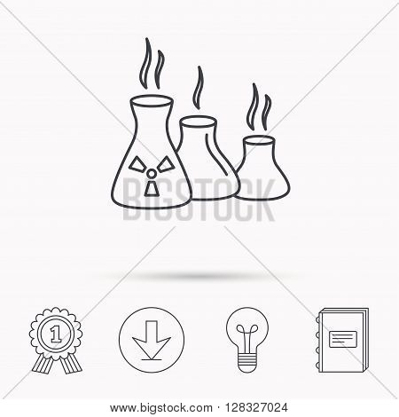 Industry building icon. Manufacturing sign. Chemical toxic production symbol. Download arrow, lamp, learn book and award medal icons.
