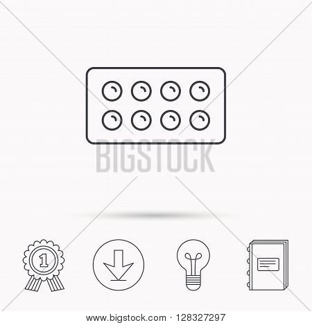 Tablets icon. Medical pills sign. Painkiller drugs symbol. Download arrow, lamp, learn book and award medal icons.