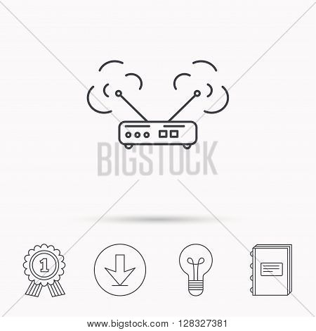 Wi-fi router icon. Wifi wireless internet sign. Device with antenna symbol. Download arrow, lamp, learn book and award medal icons.
