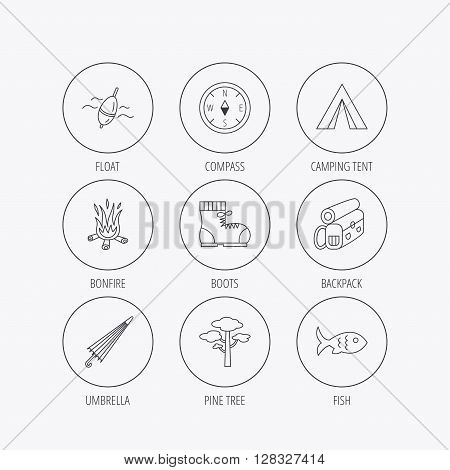 Pine tree, fishing float and hiking boots icons. Compass, umbrella and bonfire linear signs. Camping tent, fish and backpack icons. Linear colored in circle edge icons.