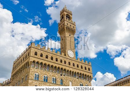 Fragment of the Old Palace (Palazzo Vecchio or Palazzo della Signoria), in Florence (Italy).