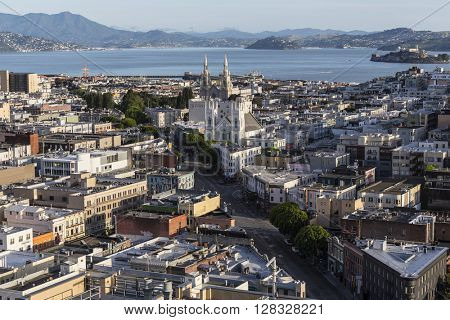 San Francisco, California, USA - April 24, 2016:  Clear weekend morning view towards Columbus Ave at Broadway near San Francisco Bay.