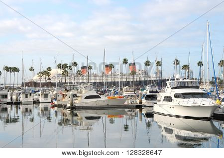 Long Beach California/USA-April 30 2016:Queen Mary from Queensway Bay.