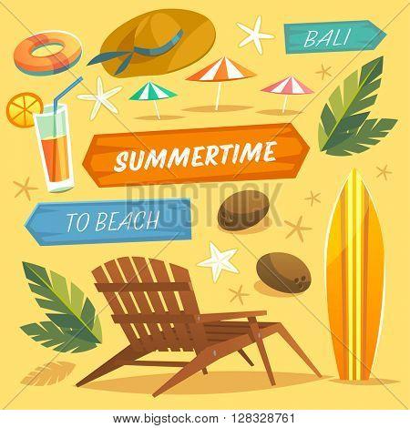 Set of objects. Summer Holidays. Vector Illustration