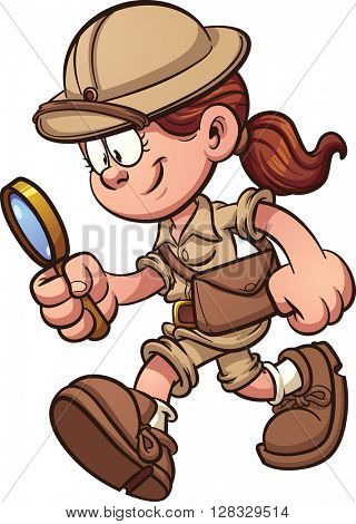 Explorer girl searching with magnifying glass. Vector clip art cartoon illustration with simple gradients. All in a single layer.