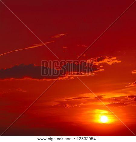 Bright red sunrise in the sky