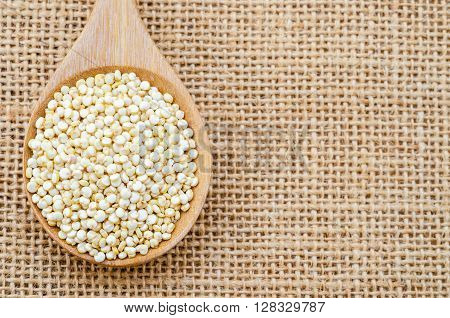 Uncooked quinoa in wooden spoon on sack background.