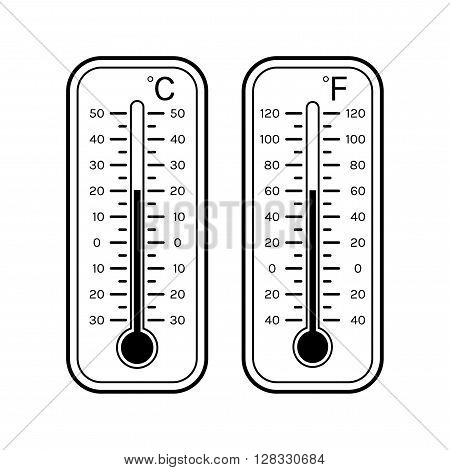 Linear flat icons of thermometers for weather. Scale Celsius, Fahrenheit. Black and white object