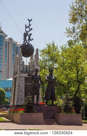 ALMATY KAZAKHSTAN - april 16 2016: Monument Aliya Moldagulova and Manshuk Mametova in Park of Almaty Kazakhstan