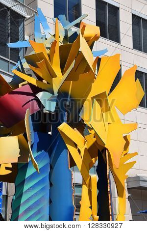 WASHINGTON DC - APR 17: Epoch sculpture in Washington, DC, as seen on April 17, 2016. It is a large, bright multi-colored metal sculpture of unusual shapes.