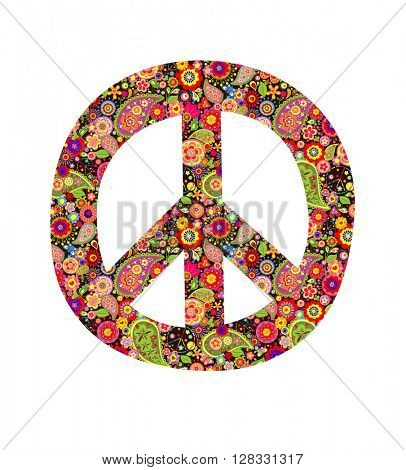 Peace symbol with colorful flowers print