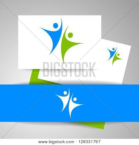 Success team logo. Identity business template. Team logo. Abstract people logo. Vector template. Design element.