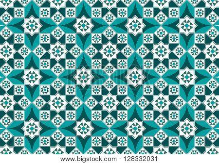 A Beautiful Turquoise Arabesque Mosaic Pattern Background
