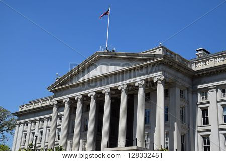 The US Treasury Department Building in Washington, DC