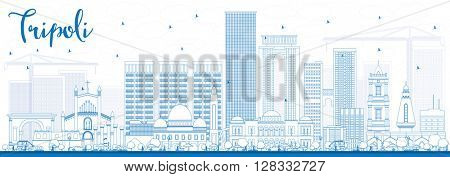 Outline Tripoli Skyline with Blue Buildings. Vector Illustration. Business Travel and Tourism Concept with Historic Buildings. Image for Presentation Banner Placard and Web.