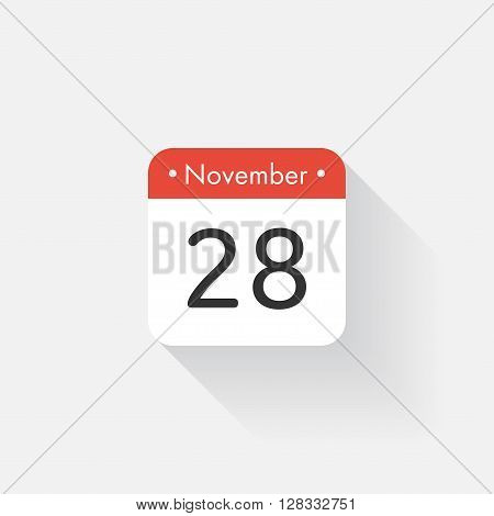 Calendar Icon with long shadow. Flat style. Date, day and month. Reminder. Vector illustration. Organizer application, app symbol. Ui. User interface sign. November. 28