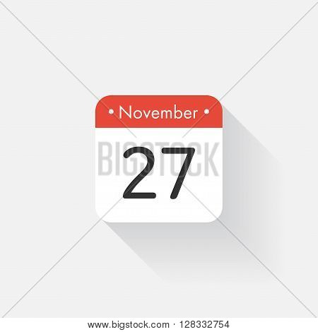 Calendar Icon with long shadow. Flat style. Date, day and month. Reminder. Vector illustration. Organizer application, app symbol. Ui. User interface sign. November. 27