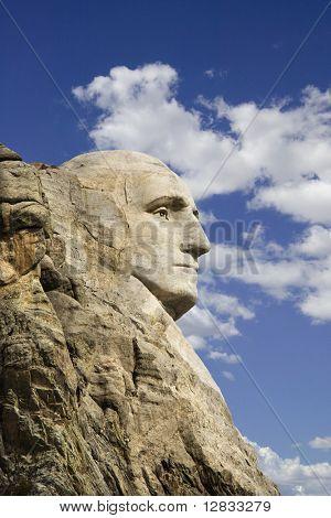 Profile of George Washington carving at Mount Rushmore National Monument, South Dakota.