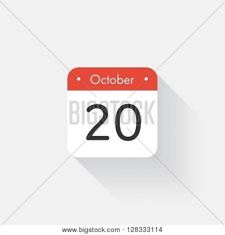 Calendar Icon with long shadow. Flat style. Date, day and month. Reminder. Vector illustration. Organizer application, app symbol. Ui. User interface sign.  October. 20
