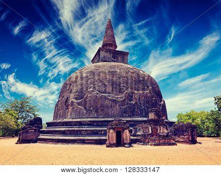Vintage retro effect filtered hipster style image of Kiri Vihara - ancient dagoba tourist landmark. Pollonaruwa, Sri Lanka