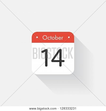 Calendar Icon with long shadow. Flat style. Date, day and month. Reminder. Vector illustration. Organizer application, app symbol. Ui. User interface sign.  October. 14