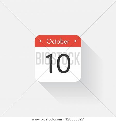 Calendar Icon with long shadow. Flat style. Date, day and month. Reminder. Vector illustration. Organizer application, app symbol. Ui. User interface sign.  October. 10