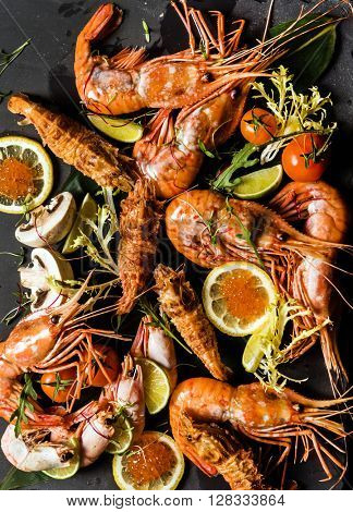 shrimps on stone plate