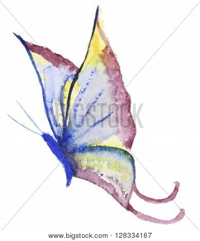 Abstract Watercolor hand drawn colorfyl butterfly. Hand painted watercolor butterfly in Hires.  Perfect for wedding invitations, greeting cards, quotes, blogs, posters and logo.
