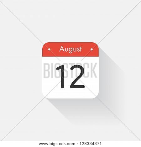 Calendar Icon with long shadow. Flat style. Date, day and month. Reminder. Vector illustration. Organizer application, app symbol. Ui. User interface sign. August. 12