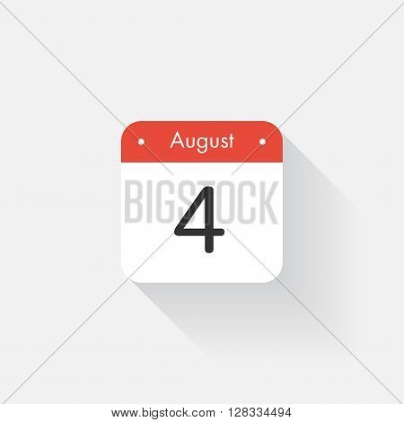 Calendar Icon with long shadow. Flat style. Date, day and month. Reminder. Vector illustration. Organizer application, app symbol. Ui. User interface sign. August. 4