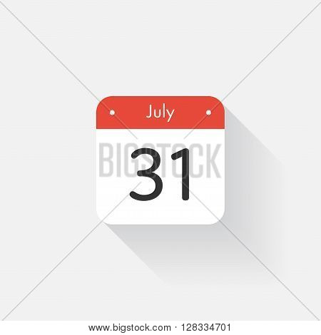 Calendar Icon with long shadow. Flat style. Date, day and month. Reminder. Vector illustration. Organizer application, app symbol. Ui. User interface sign. July. 31