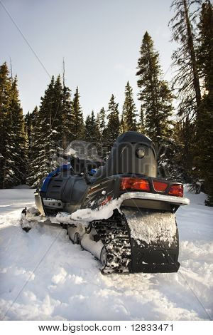 Snowmobile in snow with trees in background.