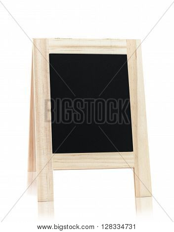 Wooden menu board isolated on white background save clipping path.