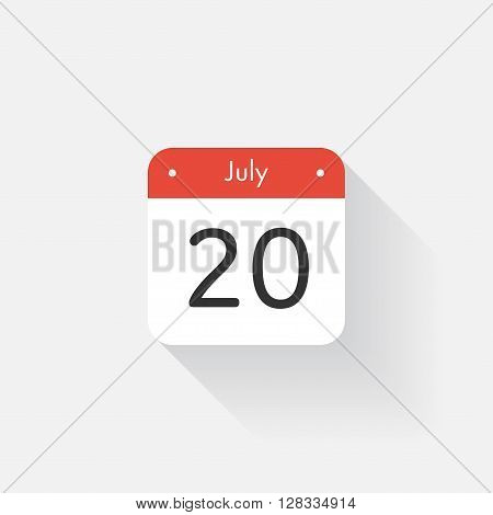 Calendar Icon with long shadow. Flat style. Date, day and month. Reminder. Vector illustration. Organizer application, app symbol. Ui. User interface sign. July. 20